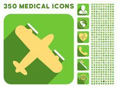 Screw Aeroplane Icon and Medical Longshadow Icon Set - stock illustration