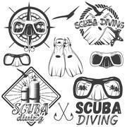 Vector set of scuba diving center labels in vintage style. Sport underwater Stock Illustration