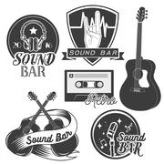 Vector set of sound recording studio labels in vintage style. Rock music - stock illustration