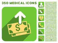 Spend Money Icon and Medical Longshadow Icon Set - stock illustration