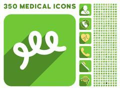 Spiral Bacillus Icon and Medical Longshadow Icon Set - stock illustration