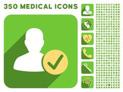Valid User Icon and Medical Longshadow Icon Set - stock illustration