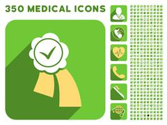 Validation Seal Icon and Medical Longshadow Icon Set - stock illustration