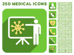Virus Lecture Icon and Medical Longshadow Icon Set - stock illustration