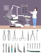 Dentist clinic interior vector illustration flat style. Dental tools isolated on Stock Illustration