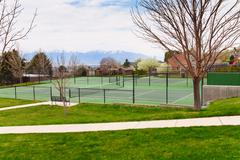 Stock Photo of Tennis court in Salt Lake City with mountain view