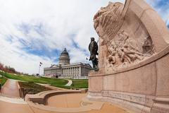Utah Capitol building with monument and statue - stock photo