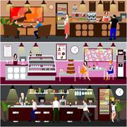 Cafe interior vector illustration. Design of coffee shop, bakery, restaurant and - stock illustration
