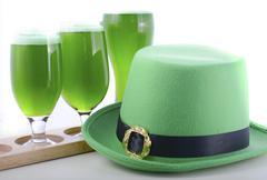St Patricks Day green beer - stock photo