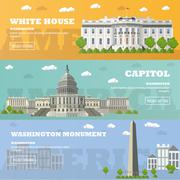 Washington DC tourist landmark banners. Vector illustration. Capitol, White - stock illustration