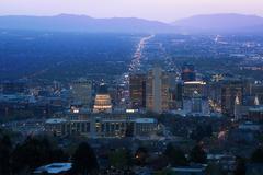 Utah Capitol view during night in Salt Lake City Stock Photos