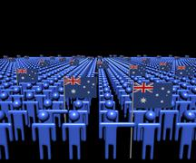 Crowd of abstract people with many Australian flags illustration Stock Illustration