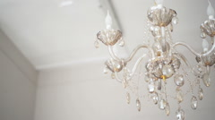 Chandelier in the room - stock footage