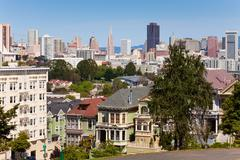 View of San Francisco from  Alamo square Stock Photos
