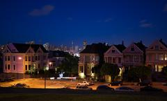 San Francisco night view photos form Alamo square Stock Photos