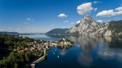 aerial view, Traunsee lake in Alps mountains, - stock photo