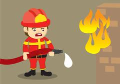 Fireman Fighting Fire with Dripping Hose - stock illustration