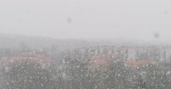 Close up footage of true natural heavy snowfall in Slovenia, Divaca Stock Footage