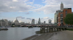 River Thames with Blackfriars Bridge in London Stock Footage