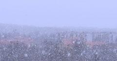 True natural heavy snowfall in slovenian village Divaca, near Italy Stock Footage