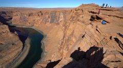 Horseshoe bend pan footage with tourist - Arizona Stock Footage