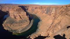 Colorado River at Horseshoe Bend lookout - Navajo Reservation, Arizona - stock footage