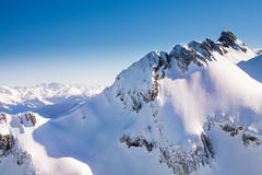 Caucasus mountains high view during winter - stock photo
