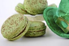St Patricks Day green macarons. - stock photo