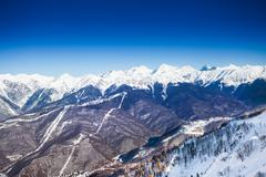 Breathtaking Caucasus mountains top view in winter - stock photo