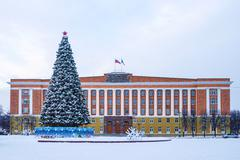 Administration Building and the New Year tree in winter scene - stock photo