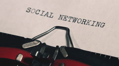 Social networking typed title on vintage typewriter machine - stock footage
