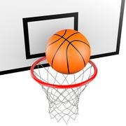 Basketball Ball Entering in a Basket 3D Illustration on White Background Piirros