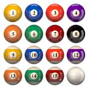Pool Balls Set Isolated on White Background 3D Illustration - stock illustration