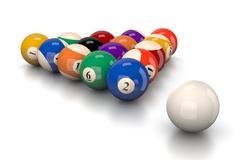 Pool Balls Smash on White Background 3D Illustration - stock illustration