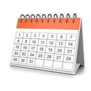 Orange and White Desk Calendar on White Background 3D Illustration - stock illustration