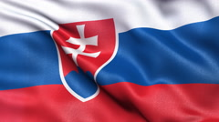 4K Slovakia flag seamless loop Stock Footage