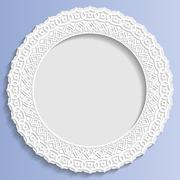 3D Vector bas-relief frame, vignette with ornaments, decorative plate - stock illustration