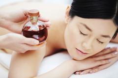 Aromatic oil for massage Stock Photos