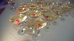 Tier of martini glass with cherries Stock Footage