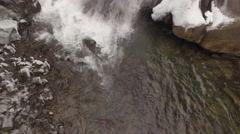 4k Aerial Snow Tennessee Waterfall Base to Crest 001 Ascend Tilt Up - stock footage