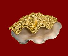 Sink giant clam with golden wings, arranged as a box - stock illustration