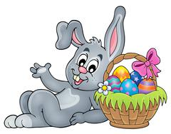 Basket with eggs and Easter bunny - eps10 vector illustration. - stock illustration