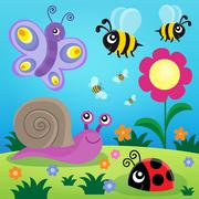 Spring animals and insect theme image - eps10 vector illustration. Stock Illustration