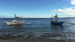 Catamaran Boat at the reef Stock Footage