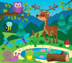 Forest animals topic image - eps10 vector illustration. Stock Illustration