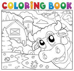 Coloring book lurking cow near farm - eps10 vector illustration. Stock Illustration
