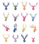 Deer horns label set - stock illustration