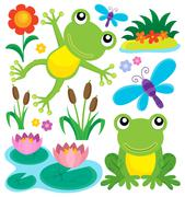 Frog thematic set - eps10 vector illustration. Stock Illustration
