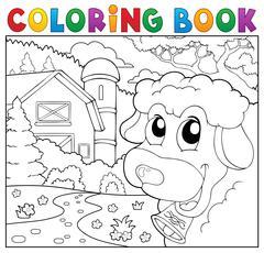 Coloring book lurking sheep near farm - eps10 vector illustration. - stock illustration