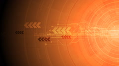 Bright orange gear, circuit board and arrows tech video animation - stock footage